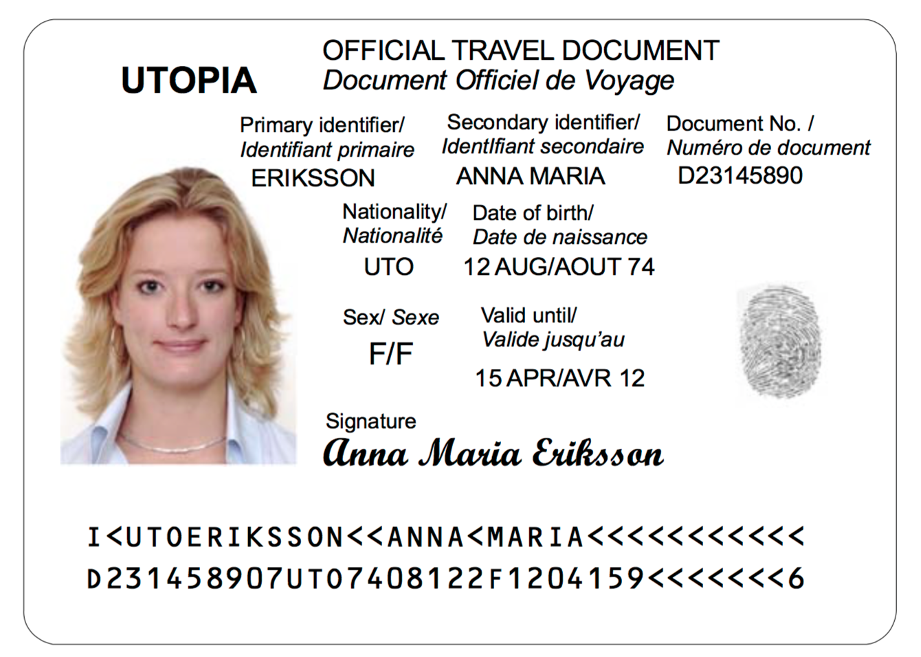 A TD2 Machine Readable Official Travel Document