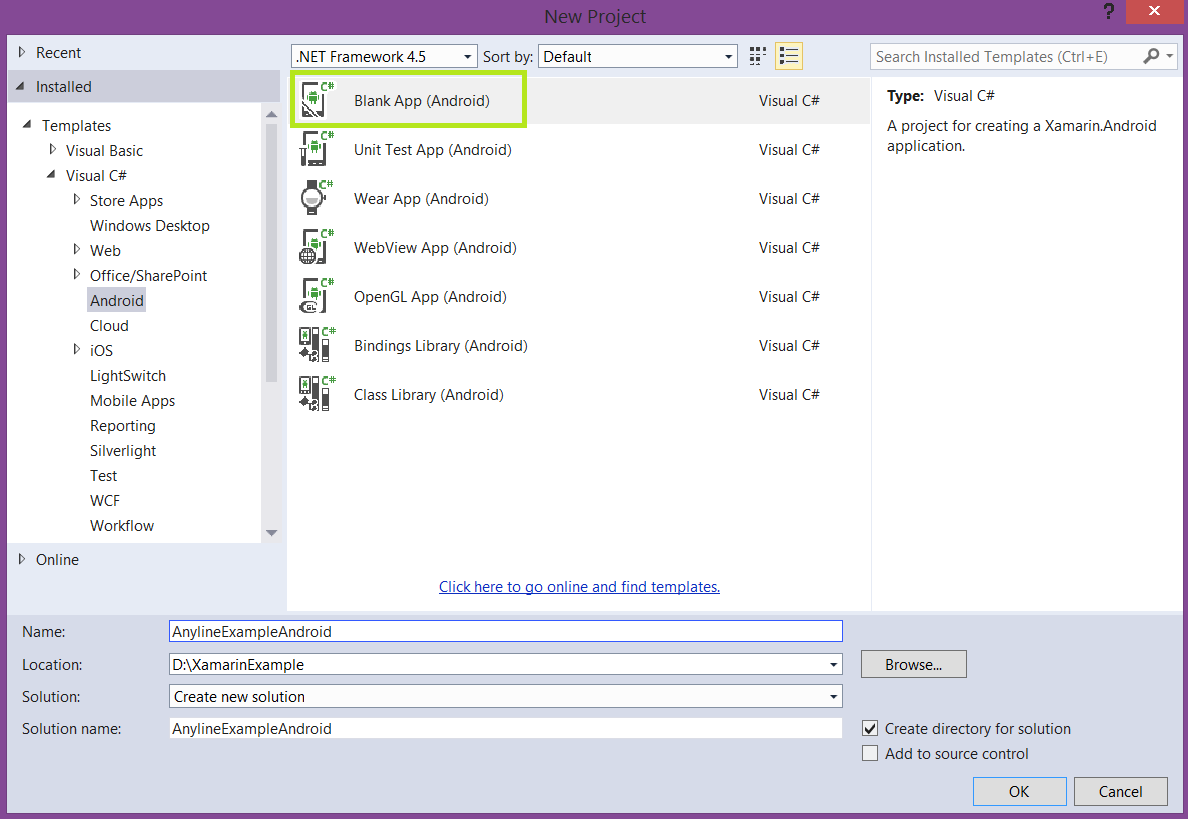 Create a Xamarin Android Project in Visual Studio